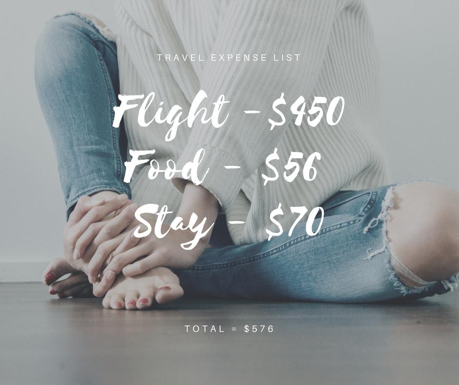 Flight -$450Food - $56 Stay - $70